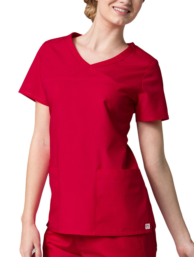 'Red Panda' Curved Mock Wrap Top