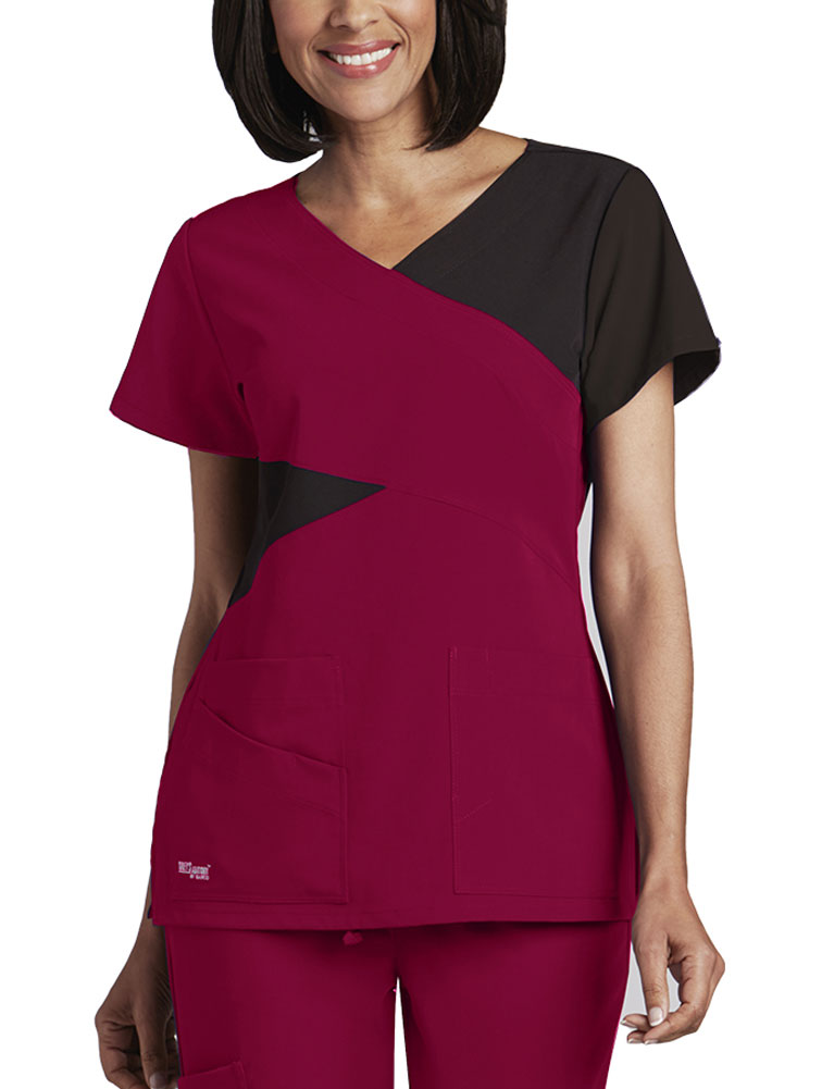 'Grey's Anatomy Signature' Mock Wrap Top w/ Contrast Panels