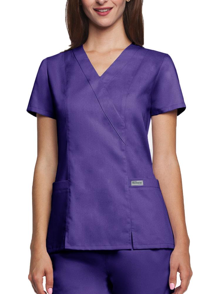 'Grey's Anatomy' Two Pocket Mock Wrap Top