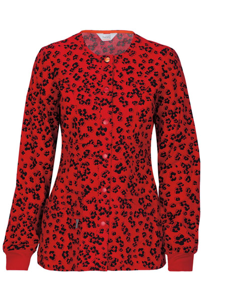 Snap Front Warm-Up Print Jacket w/ Antimicrobial