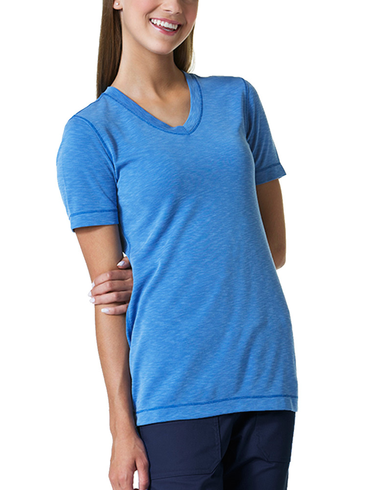 Ladies Curved V-Neck Modal Knit Top