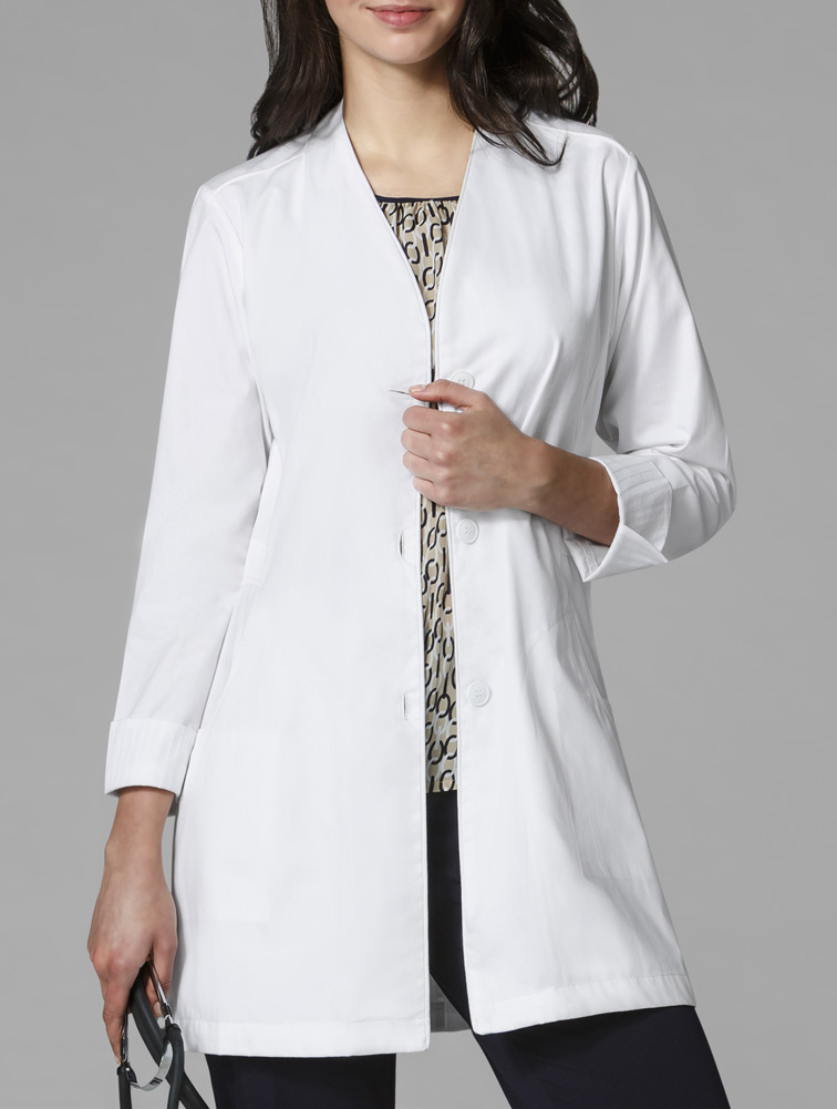 WonderLAB Women's Stand Collar Fashion Lab Coat