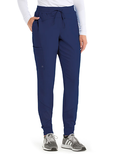 'Boost' 3-Pocket Mid-Rise Perforated Jogger Scrub Pant