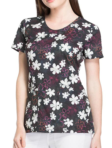 'Dynamix' Rounded V-Neck Print Top 'Falling Fleur You'