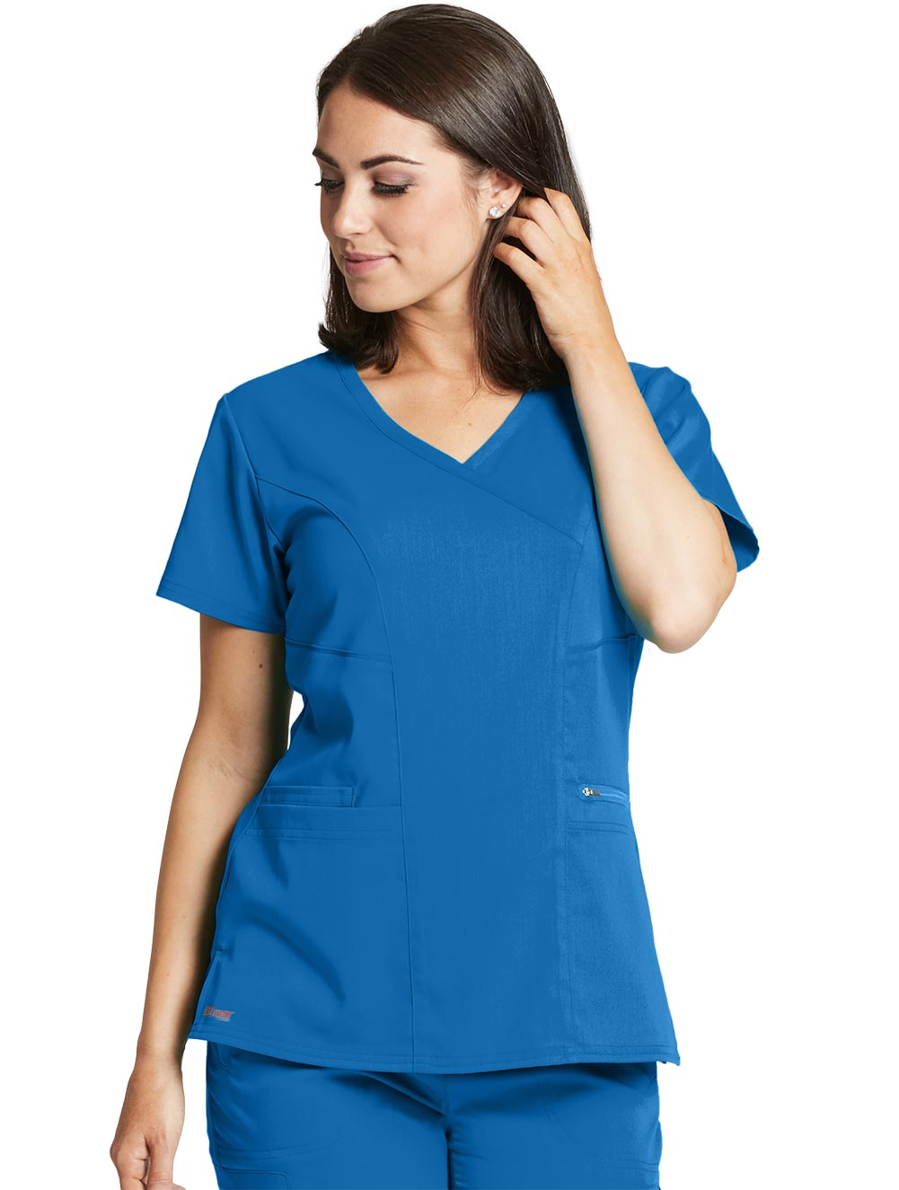 Grey's Anatomy Spandex Stretch Surplice 3-Pocket Scrub Tops