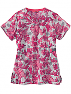 Women's Y-Neck Fashion Print Top