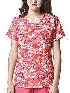 Cross-Flex Women's Y-Neck Fashion Print Top
