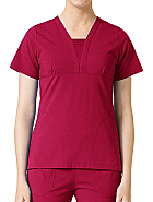'Eco Flex' Deep Shaped V-Neck With Pintuck Decoration Top