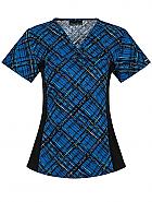 V-Neck Knit Panel Print Top