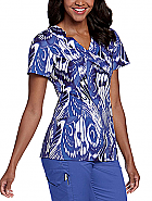 Notched Surplice Print Top