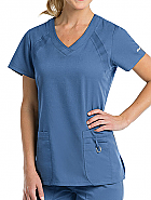 'Grey's Anatomy Active' Inset V-Neck Knit 3-Pocket Top