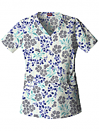 Dropped Waist V-Neck Top 'Japanese Blossoms' X-Large